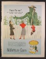 Magazine Ad For Niblets Corn, Jolly Green Giant Tending Garden, 2 Women & Boy Watching, 1953