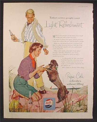 Magazine Ad For Pepsi Pepsi-Cola, Man & Woman on The Beach with a Poodle Dog, 1953