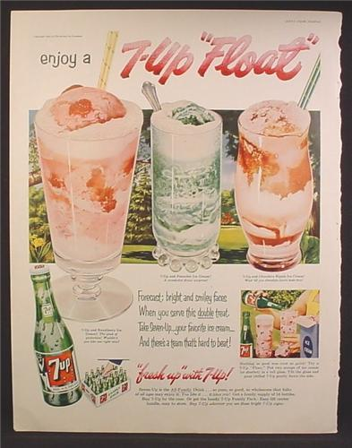 Magazine Ad For 7UP Seven-Up, Enjoy a 7UP Float, 3 Different Flavor Floats, 1953