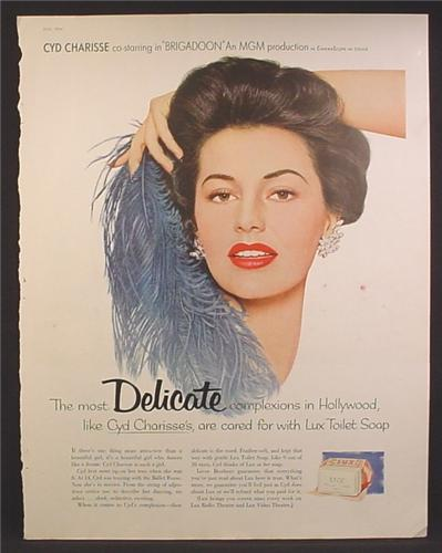Magazine Ad For Lux Toilet Soap, Cyd Charisse, Celebrity Endorsement, 1953