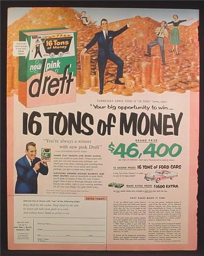 Magazine Ad For Pink Dreft Dish Soap, Contest to win 16 Tons Of Money, 1953