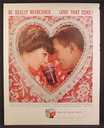 Magazine Ad For Coca-Cola Coke, Couple Behind Lace Valentines Heart With Glass of Coke, 1959