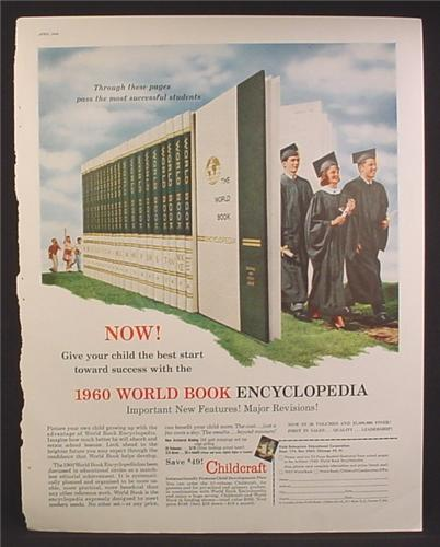 Magazine Ad For World Book Encyclopedia, Graduates Walking Out of Pages, 1960