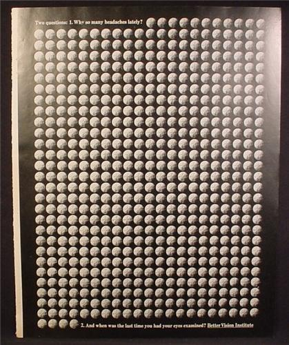 Magazine Ad For Bayer Aspirin, Rows & Rows of Pills, Why So Many Headaches, Eyes Examined
