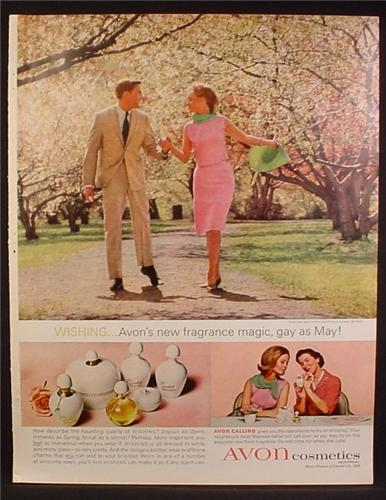Magazine Ad For Avon Cosmetics, Wishing Fragrance, Prefume, Gay As May, 1963