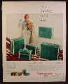 Magazine Ad For Samsonite Fashiontone Luggage, Green, 5 Piece Set, 1952