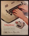 Magazine Ad For IBM Electric Typewriter, Beige or Brown, Striking Difference, 1952
