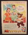 Magazine Ad For Sugar Puffs Cereal, Bear Stealing a Bowl, England, 1956