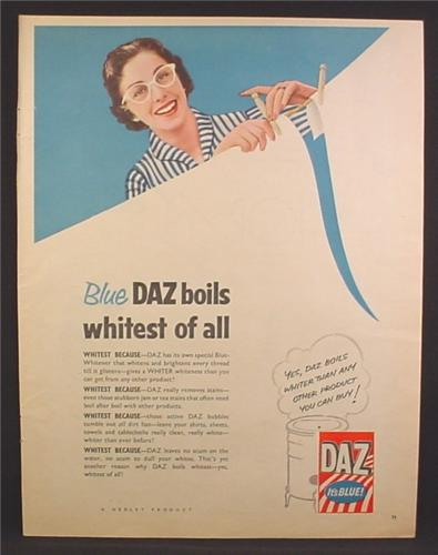 Magazine Ad For Daz Laundry Detergent, Blue Daz Boils Whitest of All, England, 1956