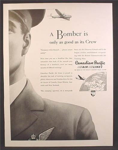 Magazine Ad For Canadian Pacific Airlines, A Bomber Is Only As good As Its Crew, WWII, 1944