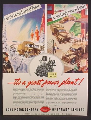 Magazine Ad For Ford Motor Company of Canada, On The Frozen Fronts of Russia, WWII, 1944