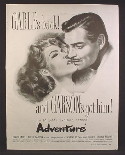 Magazine Ad For Adventure MGM Movie, Clark Gable, Greer Garson, Poster, 1946