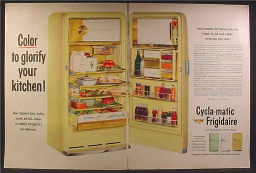 Magazine Ad For Cyclamatic Cylca-Matic Frigidaire Fridge, 1954, Double Page Ad