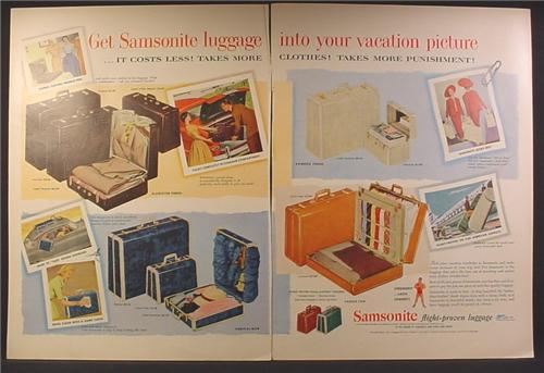 Magazine Ad For Samsonite Luggage, 4 Different Styles, 1954, Double Page Ad
