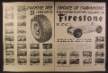 Magazine Ad For Firestone Tires, Choice of 31 Indianapolis Race Winners, 1954, Double Page Ad