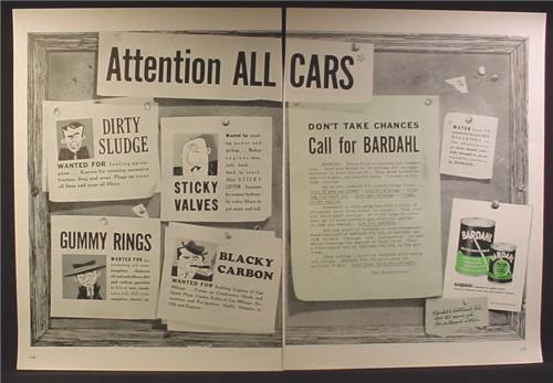 Magazine Ad For Bardahl Engine Oil & Additive, Wanted Posters, 1954, Double Page Ad