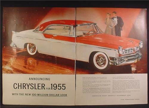 Magazine Ad For 1955 Chrysler New Yorker Deluxe St Regis Car in Navajo Orange & White, 1954