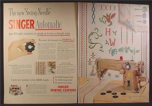Magazine Ad For Singer Automatic Swing Needle Sewing Machine, Fashion Discs, 1954, Double Page Ad