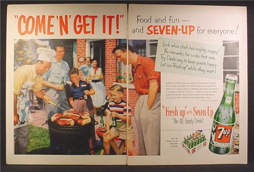 Magazine Ad For 7UP, Seven Up Soft Drink, Family BBQ, 24 Bottle Case, Come N Get It, 1954