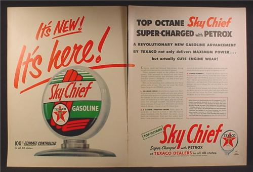 Magazine Ad For Texaco Sky Chief Gasoline, Large Glass Gas Pump Globe, 1954, Double Page Ad