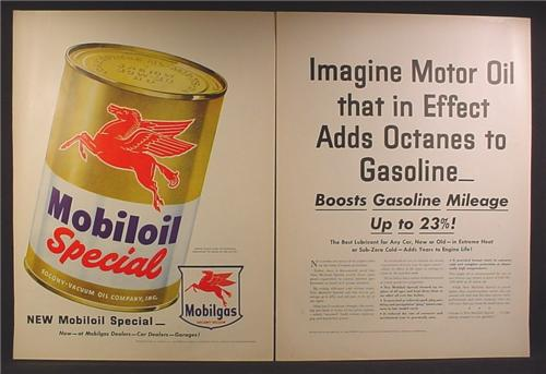 Magazine Ad For Mobiloil Special Motor Oil, Full Page Size Oil Can, Winged Horse, 1954
