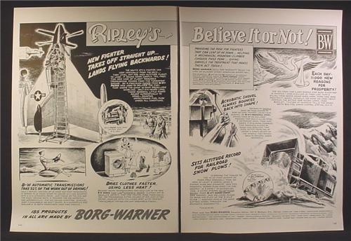 Magazine Ad For Borg Warner, Ripley's Believe It Or Not, Navy XfV-1 Airplane, 1954