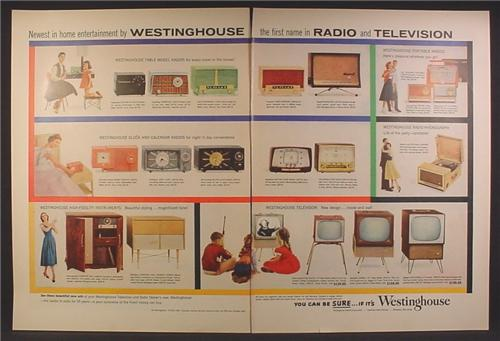 Magazine Ad For Westinghouse Electric Radios & Television Sets, TV, 20 Models Pictured, 1955