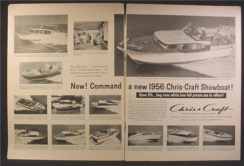 Magazine Ad For 1956 Chirs Craft Boats, 12 Models Pictured, Chris-Craft Showboat, 1955