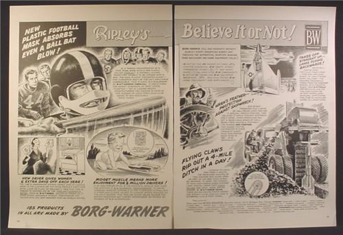 Magazine Ad For Borg Warner, Ripley's Believe It Or Not, Football Mask Hit With Baseball Bat, 1955