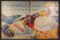 Magazine Ad For Hamm's Beer, Giant Glass & Bottle in Snow, Hamms, 1955, Double Page Ad