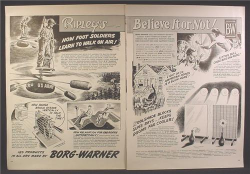 Magazine Ad For Borg Warner, Ripley's Believe It Or Not, Personal Helicopters for Soldiers, 1956