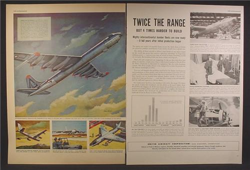 Magazine Ad For United Aircraft Corporation Aircraft, Intercontinental Convair B-36, 1953