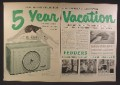 Magazine Ad For Fedders Room Air Conditioners, 1953, Double Page Ad with The List of Dealers