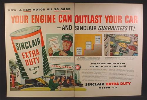 Magazine Ad For Sinclair Extra Duty Motor Oil, Large Can, Service Station, 1953, Double Page Ad