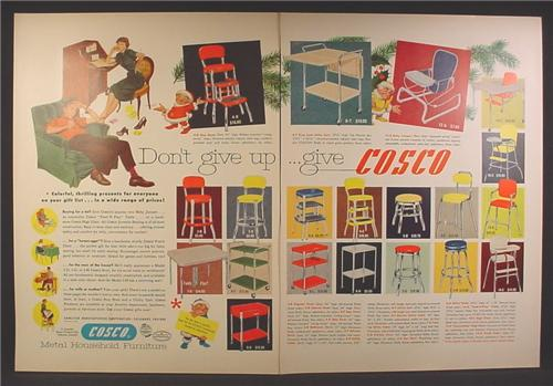 Magazine Ad For Cosco Metal Stools, Tables, High Chairs, Carts, Furniture, 1953, Double Page Ad