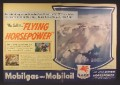 Magazine Ad For Mobilgas Flying Horsepower, WWII, Flight of Bombers, 1944, Double Page Ad