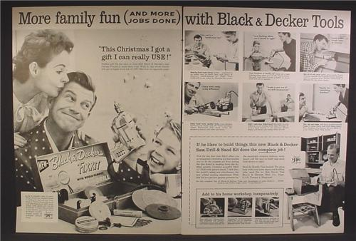Magazine Ad For Black & Decker Tools, Fixkit, More Family Fun & More Jobs Done, 1956