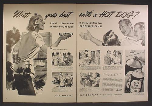 Magazine Ad For Continental Can, Cap Sealed Beer or Ale Cans, Goes Best with A Hot Dog, 1940