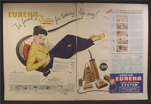 Magazine Ad For Eureka Home Cleaning System, Vacuum Cleaner, System For Taking Life Easy, 1947