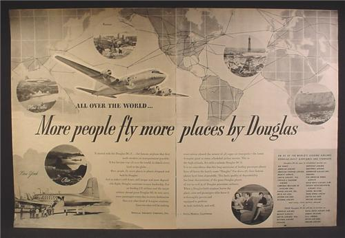 Magazine Ad For Douglas Aircraft, DC-3 Airplane, More People Fly More Places, 1946, Double Page Ad