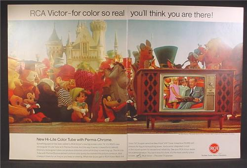 Magazine Ad For RCA Victor Television, Walt Disney Reading a Story, Characters Watching TV, 1966