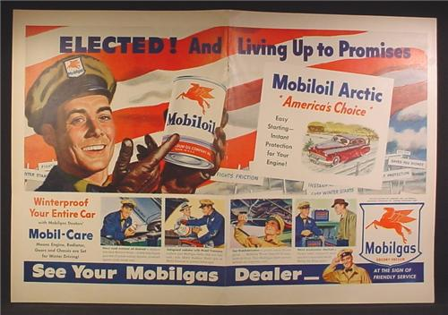 Magazine Ad For Mobilgas Mobiloil, Elected And Living Up To Promises, 1948, Double Page Ad