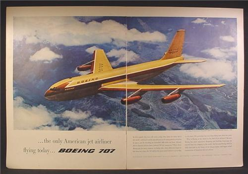 Magazine Ad For Boeing 707 Airplane, Jet Airliner, Prototype in Flight 1954, 1957, Double Page Ad