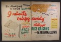 Magazine Ad For Kellogg's Rice Krispies Cereal, 8 Minute Crispy Candy Recipe, Marshmallows, 1950