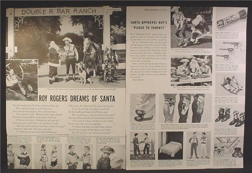 Magazine Ad For Roy Rogers Toys & Collectibles, Promotional, Clothing, Cowboy, Western, 1954