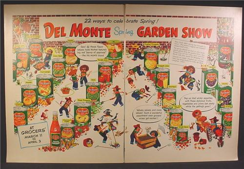 Magazine Ad For Del Monte Spring Garden Show, Cans of Fruits & Vegetables, Cartoon, 1954