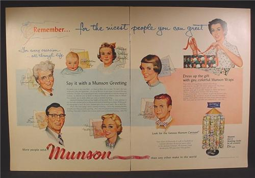 Magazine Ad For Munson Greeting Cards, Retail Carousel Display Rack, 1954, Double Page Ad