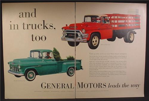 Magazine Ad For General Motors Trucks Leads The Way, 2 Ton Stake Truck, 1/2 Ton Pickup, 1955