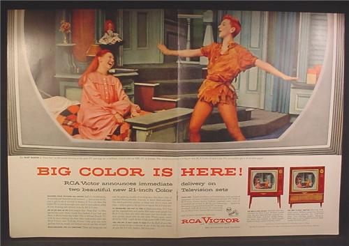 Magazine Ad For RCA Victor Color Televisions, Mary Martin as Peter Pan, 1955, Double Page Ad