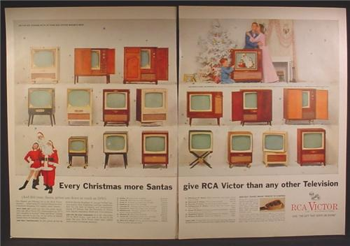 Magazine Ad For RCA Victor Televisions, 17 Different Models Shown, Santa Claus, 1955